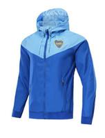 abrigo de tren al por mayor-18 19 Traje de entrenamiento Boca Wind Coat Jacket 2018 2019 Boca Junior Uniforme de entrenamiento Rain Coat Uniforme de fútbol Chaqueta Chándal Conjunto de suéter