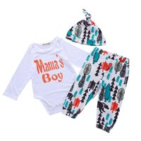 Wholesale leaves clothes for sale - Group buy Child Suit Kids Designer Brand Clothes Boys Baby Two Piece Suit Letter Tree Leaves Printing Round Neck