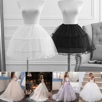 Wholesale ruffled petticoat kids resale online - 2 Hoop with Lace Edge Kids Wedding Petticoat Crinoline Skirt Slip Girl s Underskirt Pettiskirt Adjustable For Child Years Old