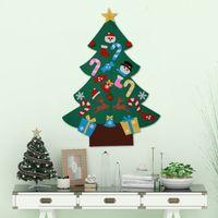 diy fühlte handwerk großhandel-DIY Fühlte Weihnachtsbaum Set mit 26 Abnehmbare Ornamente Weihnachten Hand Handwerk Dekorationen Für Hauptdekoration 3ft