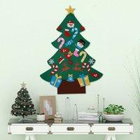 artesanía de fieltro diy al por mayor-DIY fieltro de Navidad Conjunto de árbol con los ornamentos de Navidad 26 desmontables a mano decoraciones del arte para la decoración casera 3 pies