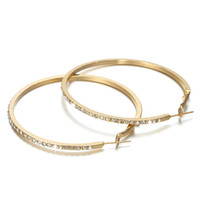 Fashion Designer Hoop Earrings Huggie with Rhinestone Simple Big Circle Gold Color Loop Earring for Women Jewelry Gift