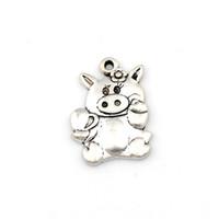 pendentif cochon mignon achat en gros de-MIGNON PIG PIGGY FLEURS Charme Pendentifs 100Pcs / lot Antique bijoux de mode en argent DIY Fit Bracelets Collier 15.3x21.8mm A-513