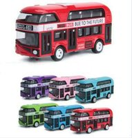 juguetes de coches viejos al por mayor-1:43 2-Floor London Double Decker Bus Modelo Toy Cars Alloy Hongkong Old-Fashion Car Toys para niños