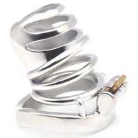 anillos de castidad bdsm al por mayor-Dispositivo de BDSM de jaula de castidad masculino súper pequeño con anillos sexuales de pene jaula Dispositivo de castidad de acero inoxidable Juguetes sexuales para hombres G7-249A