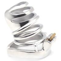 anéis de castidade bdsm venda por atacado-Dispositivo masculino pequeno super da gaiola da castidade BDSM com os anéis do sexo da gaiola do pénis Brinquedos de aço inoxidável do sexo da unidade da castidade para homens G7-249A