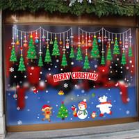 Wholesale door sticker mural for sale - Group buy New hot Christmas wall stickers cartoon Christmas tree window decoration storefront glass door stickers self adhesive seamless wall stickers