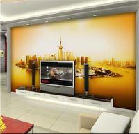 Wholesale custom buildings for sale - Group buy custom size d photo wallpaper livingroom mural Shanghai landmark building scenery picture sofa TV backdrop wallpaper non woven wall sticker
