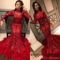 Discount feather shirts plus size Red Mermaid African Prom Dresses 2019 Vintage Feather Long Sleeve Floor Length Sequined High Neck Formal Evening Dress Party Gowns BC1327