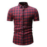 erkek gündelik gömlek giymek toptan satış-Adam Ekose Gömlek Yaz Giyim Erkek Blusa Kısa Kollu Turn-down Yaka Kareli Tops Gevşek Erkekler Gömlek Genç Erkek Rahat Giysiler 3XL