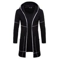 erkek iş hırka toptan satış-Yeni Yüksek Kalite Erkek Palto Kapşonlu Hırka Kazak Ceket Erkekler Orta uzun İnce Trençkot Erkekler Katı Siper Slim Fit İş Ceket J181209