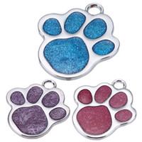 personalisierte geführte hundehalsband großhandel-Personalisierte Haustier Hundemarke Glitter Benutzerdefinierte Gravierte Füße Karte Hunde Katze Id Tags Kragen Anhänger Haustier Hund Produkte
