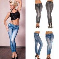 ingrosso stretch denim capris-Molle delle donne delle ghette delle calzamaglia donna jeans denim seamless scarni delle ghette i pantaloni sexy di stirata sottili pantaloni LJJA3132-11 inferiore