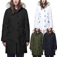 mejores marcas de piel al por mayor-Parkas las mujeres del diseñador del invierno Canadá la mejor calidad de marca abajo cubren Savona grueso de lujo con capucha Outwear verdadero lobo de piel caliente chaquetas E12