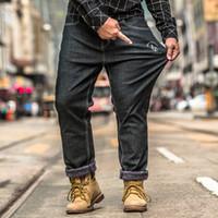 d85a38ad444 2019 Spring New Retro Stretch Black Jeans Men Plus Velvet Denim Pants  Cotton Denim Trouser Male Plus Size 30-40-48 High Quality