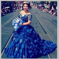 ingrosso vestito drappeggiato corto blu reale-Royal Blue Plus Size Abiti Quinceanera Satin Satin Ball Gown Ragazze Appliques Pageant Abiti maniche corte Perline Increspato Abiti da laurea