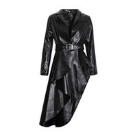 Wholesale long moto jacket resale online - 2019 NEW Long Black PU Faux Leather Jacket Women Classic Moto Biker Jacket Spring Autumn Lady Slim Basic Coat Outerwear R1077