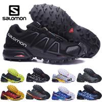 zapatos de running ligeros al por mayor-Original Salomon Speedcross 4 CS hombre zapatillas negro rojo hombres Entrenadores ligeros Jogging impermeable Zapatos al aire libre tamaño 40-46