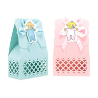Wholesale gifts for baby boy party for sale - Group buy 12pcs set Hot Sale Baby Girl And Boy Candy Box Blue Pink DIY Cute Gift Bag Paper for Baby Shower Party Decoration