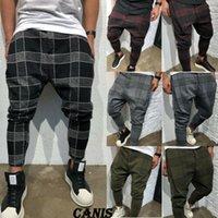 pantalon cargo taille 28 pour hommes achat en gros de-Nouveau Mode Hommes Casual Fitness Plaid PANTS Pantalon Jambe Droite Crayon Jogger Cargo Pants Taille 28-40