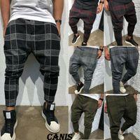 pantalon cargo hombre talla 28 al por mayor-Nueva moda para hombre Casual Fitness Plaid PANTALONES Pantalones de pierna recta Lápiz Jogger Cargo Pantalones Tamaño 28-40