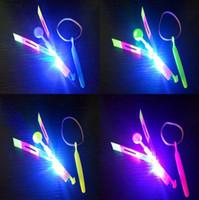 enfants boomerangs en plastique achat en gros de-LED flier LED volant incroyable flèche Flying helicopter Umbrella enfants Jouets d'extérieur Enfants Jouet OOA7250-3