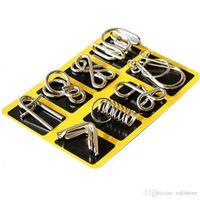juegos de rompecabezas de metal al por mayor-Montessori Materials 8 unids / set Metal Wire Puzzle Iq Mind Brain Teaser Puzzles Juego para Adultos y Niños 3 Estilo