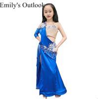 blauer bauchtanz bh großhandel-Wuchieal Mädchen Bauchtanz Performance Show Kostüm Langarm Kinder Oriental Dance Rock Bra 2 teiliges Set Royal Blue M L
