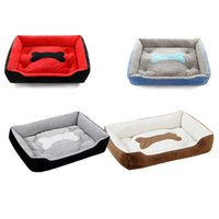ingrosso letti per animali domestici cani grandi-2019 Hot Cuboid Nest Solid Super Large Soft Fleece Waterproof Animali domestici Dog Cat Letti Basket Nest Mat