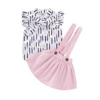 düğmeler ayarlar toptan satış-Bebek Kız Elbise Setleri Bebek Bebek Giyim Suit Toddler Kız Papyon Düğmesi V Yaka Tişört Bebek Kız Giysi Tasarımcısı Tops Katı Sling Set
