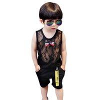 erkekler için rahat yelek toptan satış-Bebek Giysileri Yaz Bebek Erkek Kolsuz Örgü Yelek Bluz Tops + Şort Çocuk Rahat Kıyafetler Setleri Erkek Giysileri Yeni
