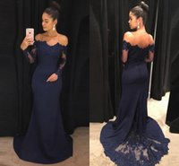 Wholesale navy ruffle prom dress for sale - Group buy Navy Blue Mermaid Prom Dresses Off The Shoulder Long Sleeves Lace Satin Evening Dresses Formal Evening Dress Elegant Prom Dress Formal Gowns