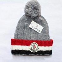 kadınlar için rahat şapka toptan satış-Lüks Kış marka Fashion2019 yeni Tasarımcı Kaput kadın çocuk Rahat örgü hip hop Gorros pom-pom kafatası kapaklar açık şapkalar