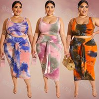Wholesale european tight dress resale online – New European and American women s Large size tight sexy package buttocks and midriff revealing two piece tie dye printing suit