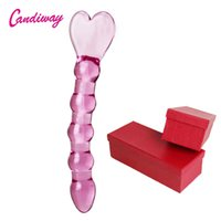 Wholesale adult sex toys box resale online - Candiway Glass Anal Plug Heart Heads Butt Plugs Penis Nightlife Anus Dildo Adult Masturbation Adult Gay Sex Toys For Women Box SH190801