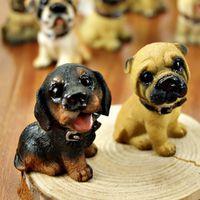 miniatur sammlerstück großhandel-6 stücke Miniatur Fee Harz Hunde Suchen Sie Liebevoll Garten Hof Home Desktop Dekoration Sammeln Figur Statuen