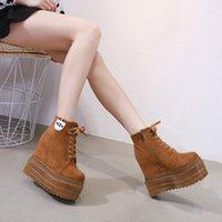siyah kama platform ayak bileği botları toptan satış-2020 Kamalar Bilek Boots Beyaz Siyah Kauçuk Taban Ayakkabı Platformu Boots Kadınlar Lacing Sonbahar Platformu Topuklar Ayakkabı Topuk 13 cm
