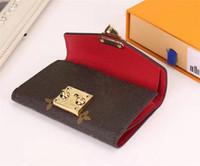 Wholesale woman clips resale online - 5 colours classic Thin women short leather wallets Portable mini Purse designer Card holder Bank Card Portfolio Money Clips coin pouch