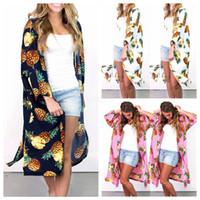 casacos de verão longos mulheres venda por atacado-Mulheres Floral Suntan Cardigan Brasão Summer Beach abacaxi Casual blusa Impresso Longo Cape Bikini Cover-Ups solto Kimono Beachwear LJA2450