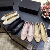 ingrosso scarpe da donna in argento-donna Dress scarpe progettista di cuoio molli genuine Rhombic signore arco scarpe di lusso donna Lettera classica pelle di pecora piatto dimensioni scarpe da barca 34-42