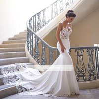 Wholesale wedding dress look for sale - Group buy 2020 Cheap Spaghetti Straps V Neck Lace Mermaid Wedding Dresses Satin Lace Applique Sweep Train Wedding Bridal Gowns Look Plus Size