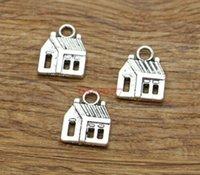 casas para férias venda por atacado-Charm House Charm Cabin Building Home Ofício Pingente 100 pçs / lote Antigo Tom de Prata 14x18mm BS1946