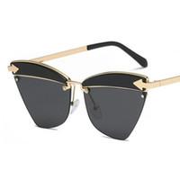quadros de óculos de coração preto venda por atacado-Sadie olho de gato óculos de sol óculos de metal preto coração espelhado Tortoise moldura de ouro tom óculos de sol dos homens da moda óculos 2018 designer
