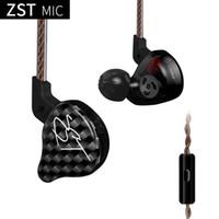ingrosso earbuds dell'orecchio di 3.5mm-KZ ZST Auricolari In-Ear Auricolari Cuffie Subwoofer 3.5mm per iPhone Xiaomi Samsung S8 S9 Note8
