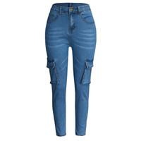ingrosso tubi lunghi-2019 Donna Hight Waisted Taglie forti Pantaloni lunghi Tasca Jeans Denim Lunghezza tratto Jeans Spodnie un pantalon Tubo flessibile