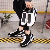 женская подошва оптовых-Роскошные моды Sorrento тапки женщин мужские Дизайнерская обувь Ткань Stretch Джерси скольжению на Sneaker Lady двухцветной Rubber Micro Sole Повседневная обувь