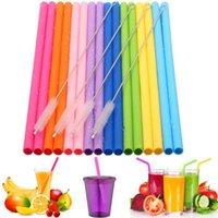 Wholesale stock drinking straw for sale - Group buy Reusable Silicone Straw Set Straight set Bend Silicone Drinking Straw With Cleaning Brush Party Home Drinking Tools TTA725