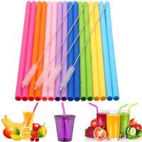 ev için takım seti toptan satış-Temizleme Fırçası Parti Ev İçme Araçları ile Yeniden kullanılabilir Silikon Straw Seti Düz 16pcs / set Viraj Silikon İçme Straw TTA725-1