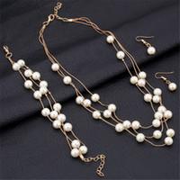 doppel-perlen-schmuck-set großhandel-Dame Wedding Imitation Pearl Jewelry Sets Mode Multilayer Gold / Silber überzogene Halskette Sets Double Layer Bridal Wedding Zubehör