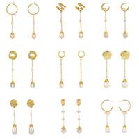 uzun kolyeler dangle toptan satış-Kadınlar için inci Geometrik Kolye Altın Renk Mektubu M Çiçek Retro Moda Mizaç Uzun Zincir Dangle Küpe Takı Hediye